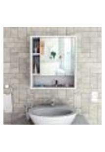 Armário De Banheiro Slim Com Espelho - Branco/Castanho