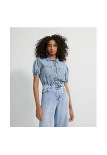 Camisa Cropped Em Sarja Com Elástico Nas Mangas E Amarração Na Cintura   Blue Steel   Azul   Pp