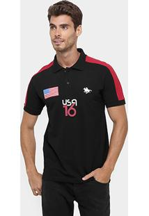 Camisa Polo Rg 518 Piquet Recorte Usa 16 Bordado - Masculino