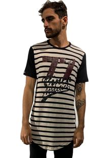 Camiseta 775 Listrada Alongada Off-Preto