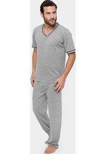 Pijama Lupo Gola V Longo Masculino - Masculino-Cinza
