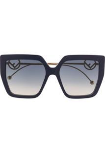 Fendi Eyewear Óculos De Sol Oversized Com Logo - Azul