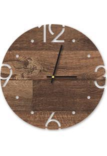 Relógio De Parede Decorativo Premium Madeira Ripada Com Números Vazados Médio