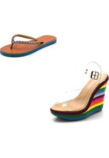 Kit Sandã¡Lia Anabela Salto Alto Transparente E Salto Colorido E Chinela Feminina Rasteira - Multicolorido - Feminino - Dafiti