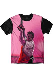 Camiseta Insane 10 Terror Leather Face Massacre Da Serra Elétrica Sublimada Rosa
