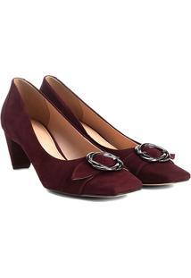 Scarpin Couro Shoestock Salto Baixo Fivela - Feminino-Vinho
