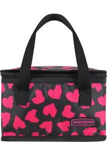 Bolsa Térmica Corações- Preta & Pink- 14X22X14Cmjacki Design