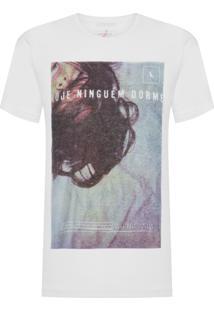 Camiseta Masculina Estampada Hoje Ninguém Dorme - Branco