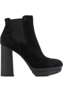 Hogan Chunky Heel Ankle Boots - Preto