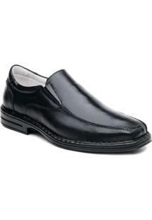 Sapato Em Couro Legítimo Com Bico Quadrado Ranster - Masculino-Preto