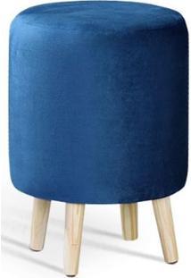 Puff Round Azul Pes Palito Pinus 45Cm - 61343 - Sun House