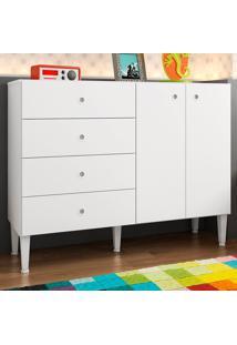 Cômoda Infantil 2 Portas 4 Gavetas Meu Fofinho Branco - Art In Móveis
