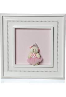 Quadro Princesa Pã©Rolas Ursa Mini Bailarina Infantil Menina Potinho De Mel Rosa - Rosa - Menina - Dafiti