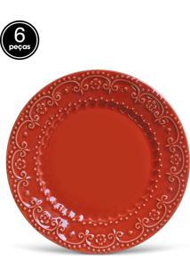 Conjunto 6Pçs Prato Raso 26Cm Esparta Vermelho - Tricae