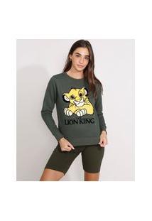 Blusão De Moletom Simba O Rei Leão Flocado Decote Redondo Verde Militar