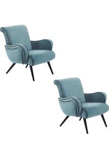 Kit 2 Poltronas Decorativa Gran Belo Style Veludo Azul