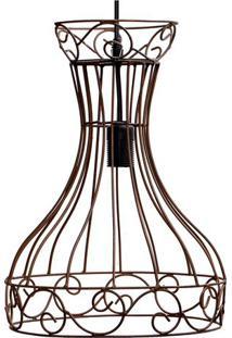 Luminária Pendente Taça - Marrom Escuro - 35Xø25,5Cmdecor Glass