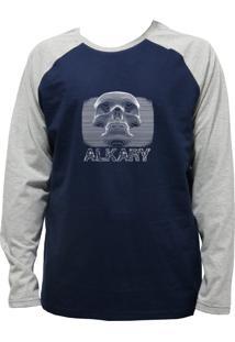 Camiseta Alkary Raglan Manga Longa Caveira 3D Marinho E Mescla
