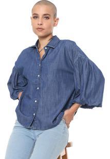 Camisa Colcci Mangas Bufantes Azul