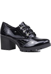 Sapato Oxford Dakota Verniz Salto Grosso Tratorado