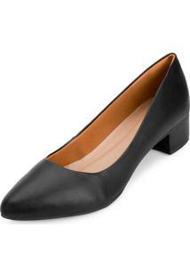 Sapato Salto Baixo Aquarela Aq20-002 Preto