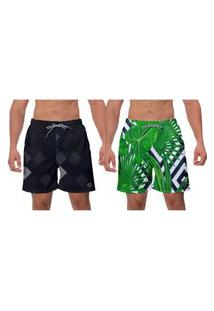 Kit 2 Shorts De Praia Preto E Verde Floral Samambaia Banho Água Surf Vôlei Academia W2