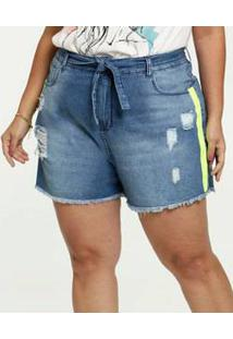 Short Jeans Feminino Destroyed Clochard Plus Size Razon