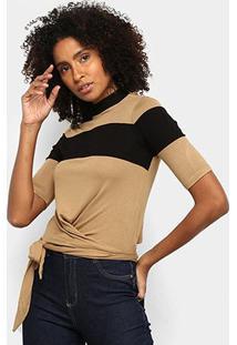 Blusa Acostamento Bicolor Amarração Feminina - Feminino-Areia