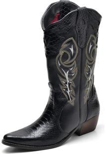 Bota Country Click Calçados Texana Montaria Couro Cano Longo Bico Fino Preta