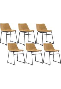 Kit 06 Cadeiras Decorativa Sala De Estar Recepção Fixa Maia Pu Caramelo - Gran Belo