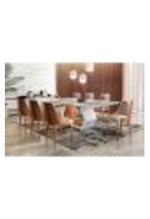 Conjunto De Mesa De Jantar Ane Com 8 Cadeiras Esmeralda I Linho Off White E Cinamomo