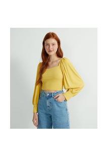 Blusa Cropped Sem Estampa Com Manga Longa Bufante E Decote Quadrado | Blue Steel | Amarelo | Gg