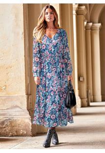 Vestido De Chiffon Com Botões Floral/Azul