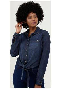 Camisa Feminina Jeans Amarração Manga Longa