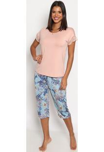 Pijama Capri Arabescos- Ros㪠& Azul Claro- Daniela Tdaniela Tombini