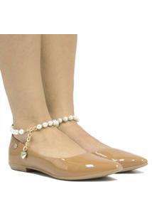 Sapatilha Zariff Shoes Pérola Verniz Feminina - Feminino-Nude