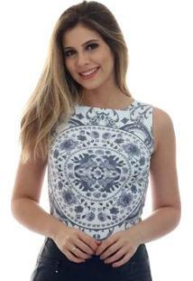 Regata Ficalinda Decote Canoa Feminina - Feminino-Branco+Preto