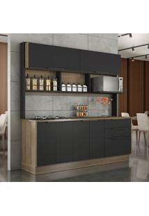Cozinha Compacta Vitrum Ii 6 Pt 3 Gv Castanho E Preta
