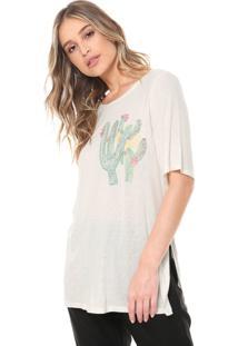 Camiseta Cantão Bordado Cacto Off-White