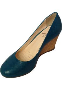 Sapato Les Chats Couro Snk Anabela Palha Azul