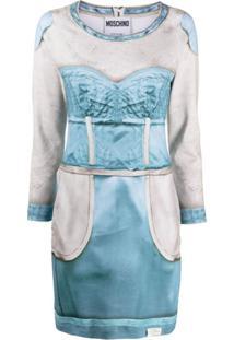 Moschino Vestido Com Recortes - Azul