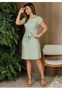 Vestido Listras Verde Soltinho Moda Evangélica