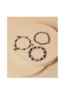 Pulseiras De Metal E Resina - Pulseira Alina Cor: Azul E Branco - Tamanho: Único