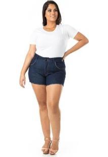 Shorts Jeans Curto Com Bolsos Plus Size Confidencial Extra Feminino - Feminino-Azul