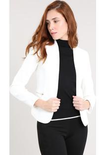 Blazer Feminino Com Zíper Off White
