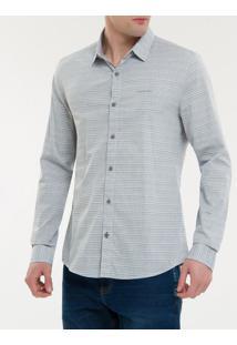 Camisa Ml Ckj Masc Listrado Com Silk Log - Cinza Claro - P