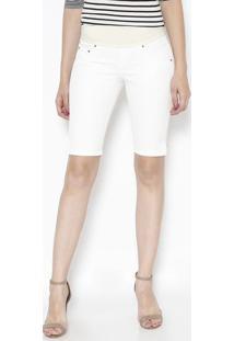 Bermuda Em Sarja Com Elã¡Stico- Off White & Bege Clarodbz Jeans