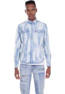 Camisa Jeans Levis Barstow Western Clara Masculina - Masculino-Azul Claro