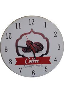 Relogio De Parede Madeira Redondo Café 30X30Cm - Carisma - Tricae