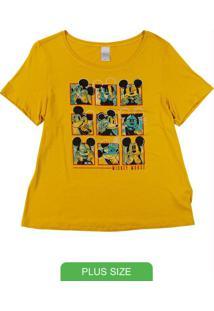 Blusa Manga Curta Estampada Amarelo